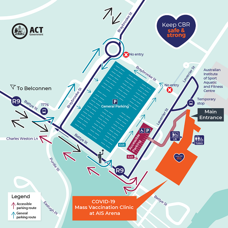 Map of AIS Arena Clinic