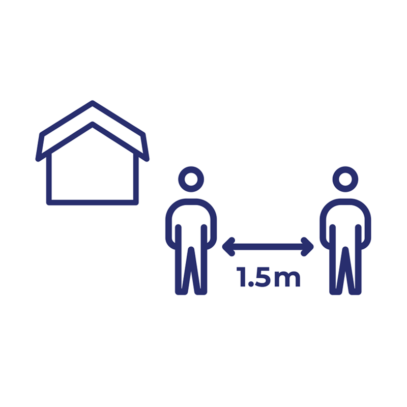 If you leave your home, you should stay 2 steps or at least 1.5 metres away from other people when you can.